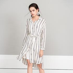 衬衫裙女2019夏新款 条纹重磅桑蚕丝印花连衣裙性感真丝慵懒裙子