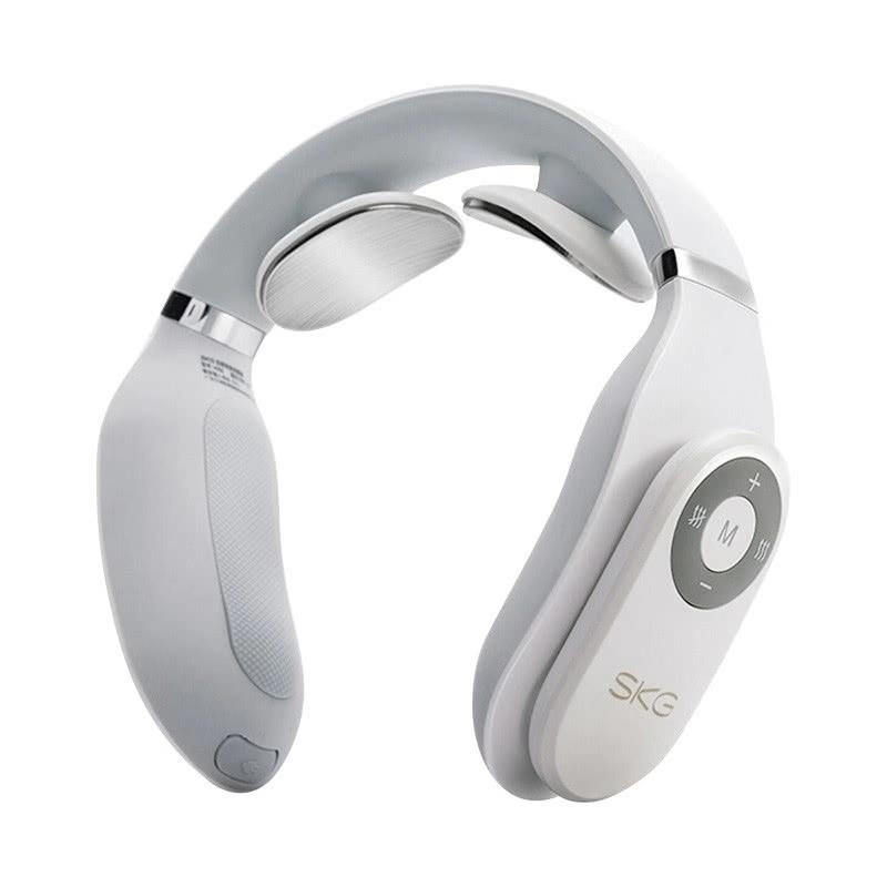 SKG颈椎按摩器 颈部按摩仪  办公室护颈仪 热敷  U型枕 电极脉冲 充电便携4098白色(经典款)