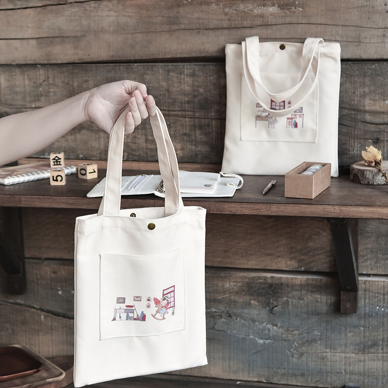 麻球创意帆布包学生补习袋女生可爱包包手拎小号购物袋帆布袋子Z