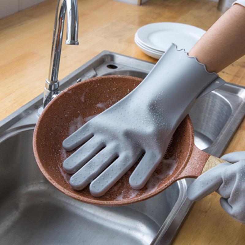抖音笑脸魔术洗碗手套爆款硅胶加厚耐用多功能清洁家务厨房刷碗防烫