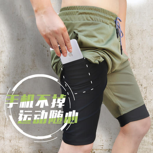 【为思礼】【手机不掉,运动必备】多功能速干运动短裤,透气速干,多口袋毛更实用,潮流百搭! 商品图0