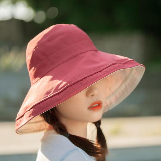 【火爆 INS的双色遮阳帽!谁带谁脸小】出街百搭利器,抗紫外线男女款防晒帽,轻便可折叠易携带 商品图3