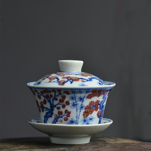 云亼堂 手绘青花釉里红盖碗 商品图4