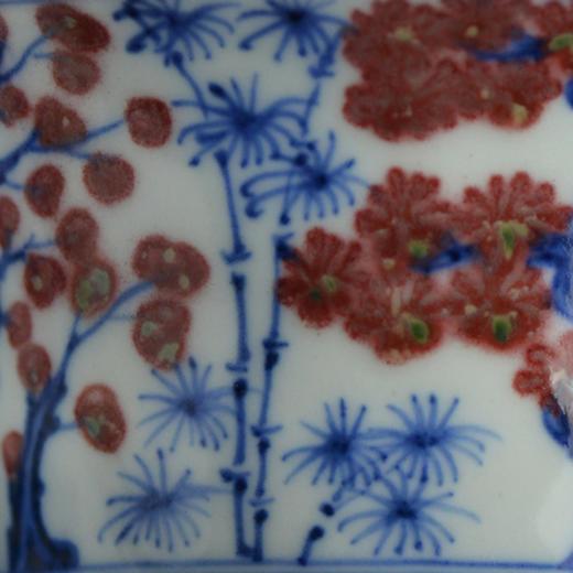 云亼堂 手绘青花釉里红盖碗 商品图5