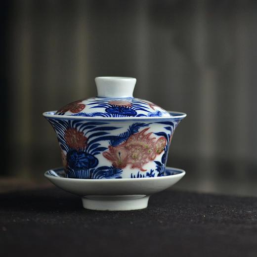 云亼堂 手绘青花釉里红盖碗 商品图1