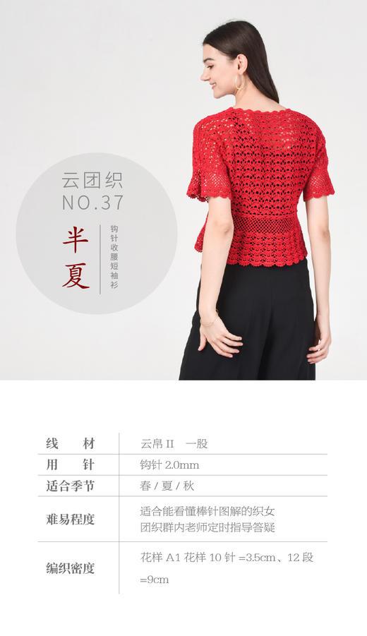 云团织NO.37半夏钩针收腰短袖上衣 材料包 含图解无视频 商品图2