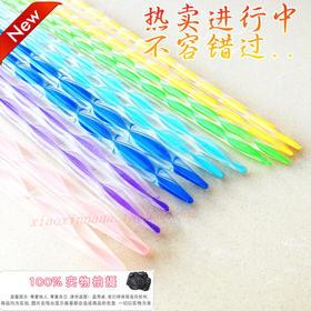 【套装】彩色亚克力水晶毛衣针双头尖水晶针透明毛衣针水晶棒针直针
