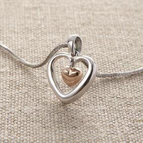 [神悦]心连心 纯银吊坠(小)送黑绳 纯银镀玫瑰金 以基督的心为心
