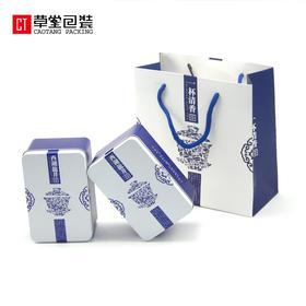 西湖龙井高档铁罐青花瓷茶叶罐茶叶包装盒通用铁盒草堂包装