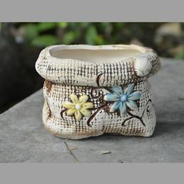 【为思礼 zakka】花器 文艺清新系列 布袋双花 多肉迷你陶瓷手绘花盆 创意家居装饰