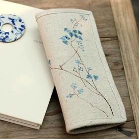 【艾洛】青叶原创手绘棉麻帆布女士两折钱包系列