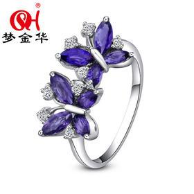 梦金华 S925银 纯银 天然紫水晶 戒指 指环 首饰 饰品 珠宝 礼物