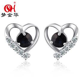 梦金华 S925银 银饰 天然蓝宝石 耳饰 耳钉 耳坠 饰品 珠宝