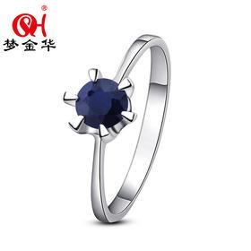 梦金华 925银 天然蓝宝石 戒指 指环 时尚 首饰 潮人 饰品 礼物