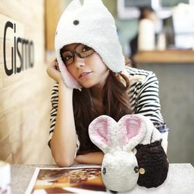 【为思礼 Gismo】兔兔帽 可爱爆牙公秋冬保暖毛绒帽 爱情公寓款
