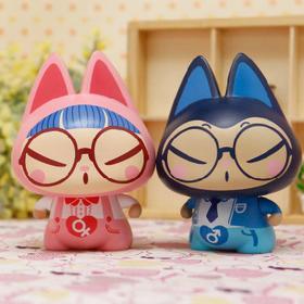 [拽猫] 眼镜情侣 青涩爱情的纪念物 治愈 呆萌 创意汽车摆件/家居装饰