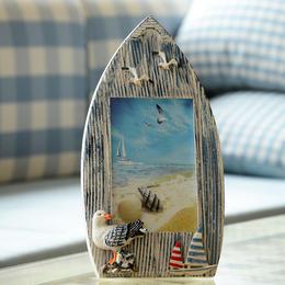【为思礼 地中海】zakka 做旧木质船形相框 创意家居装饰摆件