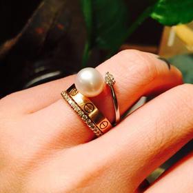 [孤品美衣]大珍珠 小锆石 925银戒指