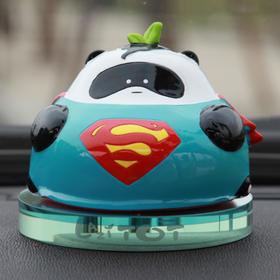 懒熊猫超人可爱高档汽车香水座摆件创意卡通车内香水瓶车载摆设
