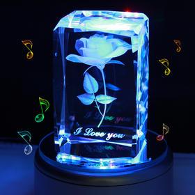 礼无忧 爱不凋谢 七彩的幸福3D水晶内雕玫瑰花摆件 旋转发光音乐盒 可刻字定制 女友最佳生日礼物