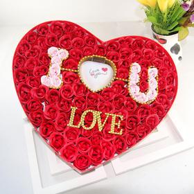 礼无忧 恋爱进行时 玫瑰香皂花 100朵发光玫瑰香皂花心形礼盒 送女朋友老婆生日情人节礼物