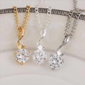 精致纯银韩版项链女 项链 气质饰品真金不褪色 直销 锆石项链