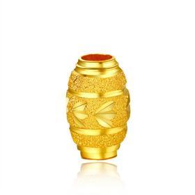 昇和珠宝999千足金转运珠黄金红绳戒指手链三叶草路路通散珠正品