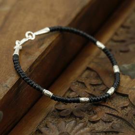 黄沙珠宝厂家泰银手饰直销  圆型时尚款腊绳手串  18cm长 情人节礼物