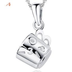 阿尤 S925纯银吊坠 1314杯子一辈子项链女款银饰品送女友礼物包邮