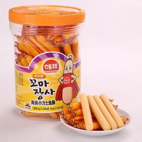 儿童最爱 韩国海牌SAJO小力士儿童鱼肠100根*10g桶装