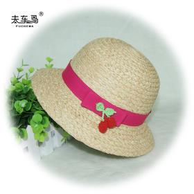 韩版草帽 拉菲草儿童小盆帽沙滩帽子 礼帽遮阳帽进口草编帽宝宝帽