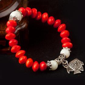 天然红豆相思豆手链 时尚情侣礼物 和田白玉手链红豆男女饰品
