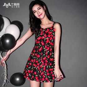七格格2015夏樱桃印花高腰吊带群连衣裙5MB1433C