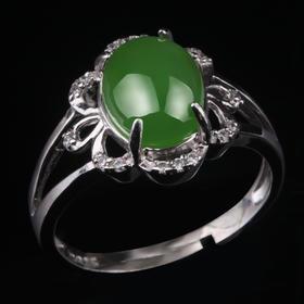 华穗珠宝天然和田玉冰种翠绿碧玉玉石蛋面银饰镶嵌金玉石戒指女戒