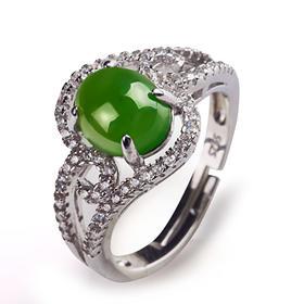 华穗珠宝天然玉石和田玉碧玉戒指菠菜绿蛋面925银镶嵌玉戒指男女