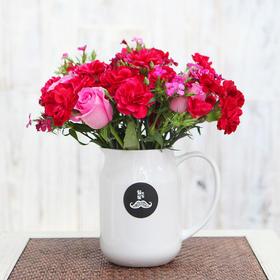 胡须先生 心花路放 粉色玫瑰搭配康乃馨和盒装花束顺丰包邮HXS2015031001