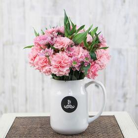 胡须先生 春色满园  水仙百合搭配康乃馨盒装花束顺丰包邮HXS2015031005