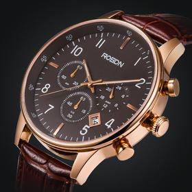劳士顿正品多功能运动男士手表3162 防水时装表石英表真皮带腕表男表
