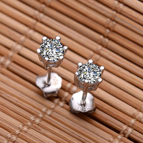 宝易购 925纯银耳钉 六爪耳钉 韩国 可爱耳钉瑞士钻