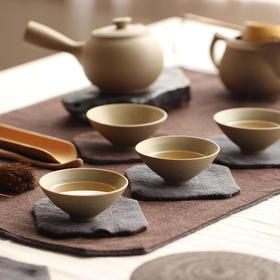 米马杂货 台湾岩泥紫砂壶 韵味圆润粗陶茶具套装 功夫茶具整套