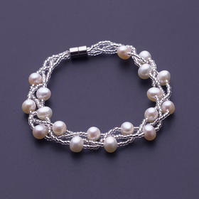 宝易购 情意绵绵白色正圆天然淡水珍珠手链