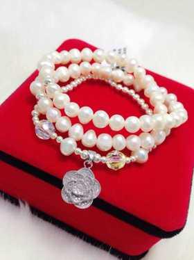 天然淡水珍珠 925纯银配件 精品礼物 精品手链
