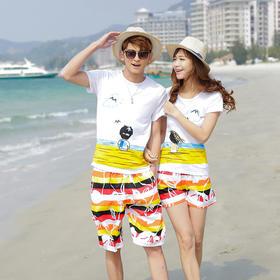 沙滩情侣夏装度假旅游情侣套装海边情侣衫纯棉T恤沙滩裤FQN492643