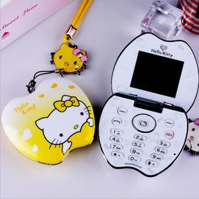 绎美 创意礼品 苹果KT猫翻盖手机 可爱卡通学生女款手机 卡通KT猫迷你手机 送女友
