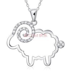 采用施华洛世奇元素水晶 天使羊S925银水晶项链 女 生肖羊吊坠项链 生日礼物