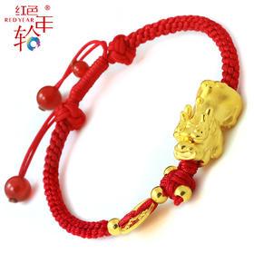 红色年轮 千足金招财貔貅红绳手链 招财进宝年年有余貔貅手链