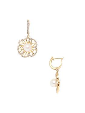 Jyoti New York 珍珠钻石花朵耳坠