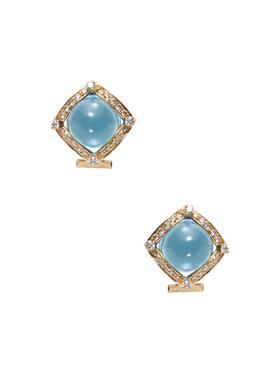 Jyoti New York 托帕石与钻石方形耳钉
