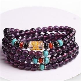 紫水晶108颗六字真言手链