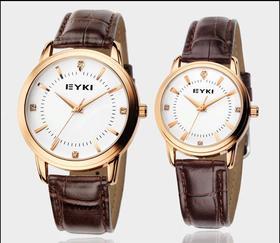 (冬之美)艾奇手表皮带男表   韩版潮男学生情侣复古表